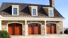 Artisan Custom Garage Doors in spanish cedar Custom Garage Doors, Garage Door Design, Custom Garages, Garage Exterior, Home Decor Furniture, Future House, New Homes, Real Estate, House Design