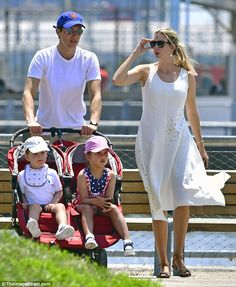Family day: Ivanka Trump and her husband Jared Kushner took their daughter Arabella, four, and son Joseph, two, to Brooklyn Bridge Park on Sunday afternoon