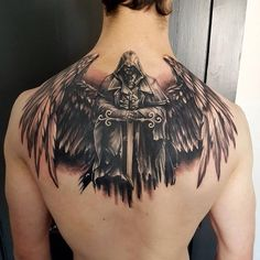 Chinese Full Back Tattoos for Men Chinese Tattoo Designs, Angel Tattoo Designs, Design Tattoo, Chinese Tattoos, Warrior Tattoos, Badass Tattoos, Viking Tattoos, Angel Warrior Tattoo, Awesome Tattoos