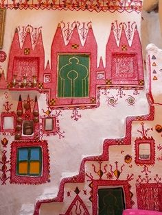 Interior decoration, traditional Ghadames house, Libya - somewhere between Barbapapa & the Moomins Vernacular Architecture, Art And Architecture, Architecture Details, Deco Restaurant, African Art, Colorful Interiors, Interior And Exterior, Decoration, Interior Decorating