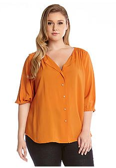 Karen Kane Plus Size Orange Peasant Blouse #Karen_Kane #Plus #Size #Orange #Peasant #Blouse #Plus_Size #Fall #Fashion #Belk