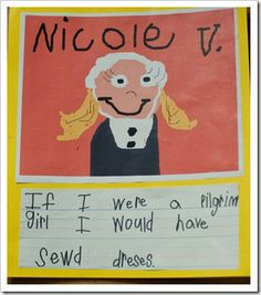 """Read a book about pilgrim boys then a book about pilgrim girls. Compare and contrast pilgrim girls and boys. The girls then write, """"If I was a pilgrim girl I would..."""" and boys do the same about themselves. The drawings were made with KidPix. Really great lesson idea from a fabulous blog!"""