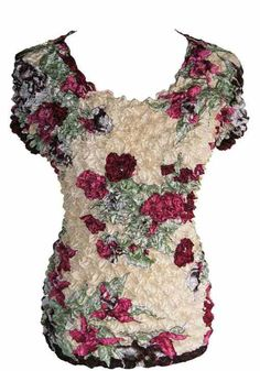Ivory & With Red & Green Flowers Short Sleeve Popcorn Top Blouse Shirt NEW #MagicPopcornFashion #Blouse #AllOccasions Popcorn Shirts, Flower Shorts, Green Flowers, Red Green, Shirt Blouses, Ivory, My Style, Sleeve, Tops