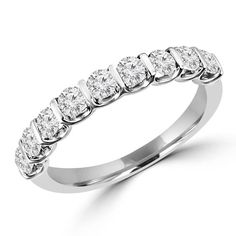 - Majesty Diamonds - Bar Set Wedding Band 3/4 CTW Round Diamond Anniversary Ring in 14K White Gold, $899.00 (http://www.majestydiamonds.com/bar-set-wedding-band/)