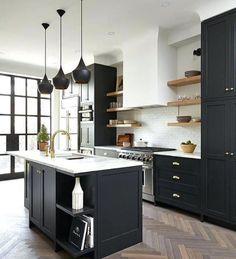 Dark, light, oak, maple, cherry cabinetry and plain wood kitchen cabinet doors. CHECK THE IMAGE for Lots of Wood Kitchen Cabinets. Black Kitchen Cabinets, Kitchen Tops, Kitchen Cabinetry, Black Kitchens, Home Kitchens, Kitchen Floors, Green Cabinets, Kitchen Backsplash, Modern Kitchens