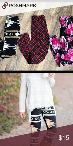 87bd00770339 3 pairs of pattern leggings Roses Plaid Brown white and black All one size  fits