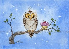 Owl and cupcake Limited Edition Print by Amy Brown by AmyBrownArt, $8.00