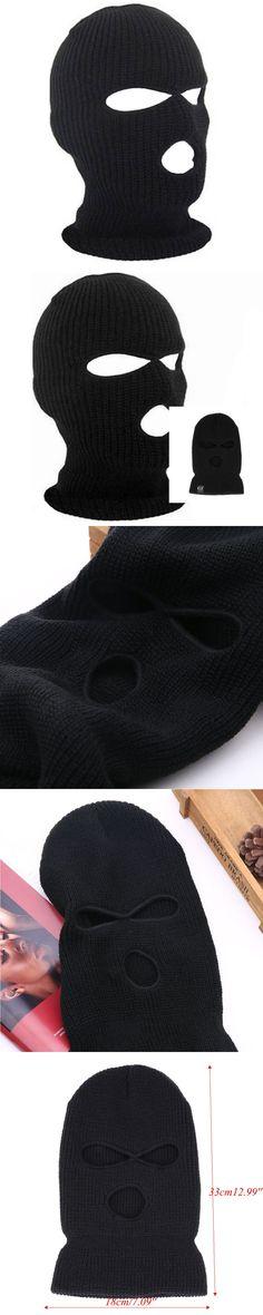 3 Hole Ski Mask Balaclava Black Knit Hat Face Shield Beanie Cap Snow Winter Warm