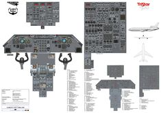 This poster is the cockpit of the Lockheed L-1011 TriStar 500 also known as the L ten eleven. The TriStar first flew in November 1970 and entered service in 1972. The shorter fuselage and longer range -500 first flew in 1978 and 50 were built. The aircraft was powered by the Rolls Royce RB211.