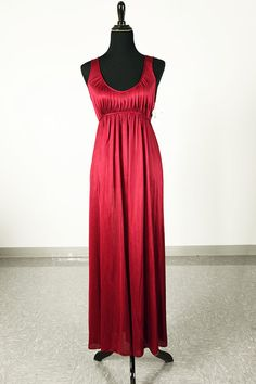 Vintage 70's deadstock wine red grecian style nightgown by piscesvintage, $22.00