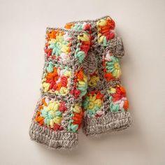 NEW FLEECE-LINED HANDWARMERS - crochet mittens - handmade in Nepal - Sundance