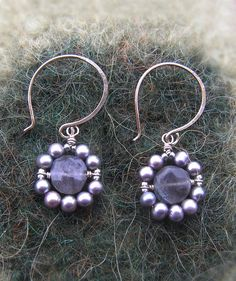 Wire wrapped Labradorite and Pearl Earrings - Labradorite & Lavender Pearl Wreath Earrings