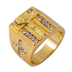 f4b0107fc New Gold Holy Cross Signet Ring Prayer Gold Rings Fashion Crystal Gold Men's  Ring Fit Wedding Party Finger Ring 5 Size