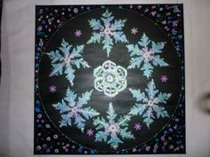 snowflakes inspired by photo taken under microscope 30cmsx30cms original on canvas £25