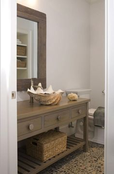 Lynn Morgan Design - bathrooms - pebble floor, pebble bathroom floor, pebbled floor, pebbled bathroom floor, taupe vanity, taupe bathroom vanity, clam shell sink, clam shell bathroom sink, taupe mirror,