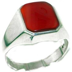 Gents Solid 925 Sterling Silver Natural Carnelian Mens Signet Ring, Made in…