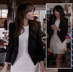 Ashley's white dress and black blazer with high back on Revenge.  Outfit Details: http://wornontv.net/15586/ #Revenge #ABC