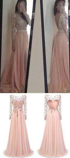 Blush Pink Prom Dress, Long Sleeves Evening Dress,Long Party Dresses, A Line Prom Dress, Lace Evening Dresses, Chiffon Prom Dresses,Prom Dresses