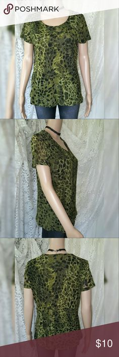 ??Chico's Mesh Top?? Chico's green animal print top with mesh overlay. Incredibly soft and stretchy. Chico's Tops Blouses