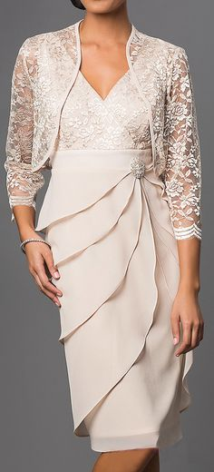 Short formal khaki dress with v-neck, lace, chiffon, sleeve, jacket - Women Dresses for Every Age! Mother Of The Bride Plus Size, Mother Of The Bride Dresses Long, Mother Of Bride Outfits, Mothers Dresses, Short Mothers Dress, Mother Of The Bride Fashion, Bride Groom Dress, Bride Gowns, Mob Dresses