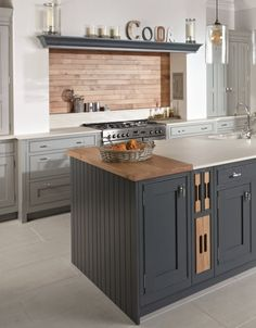 In frame shaker kitchen with range cooker. Chopping board unit and feature mantle shelf over the chimney. Inframe Kitchen, Kitchen Mantle, Kitchen Chimney, Open Plan Kitchen Dining, Shaker Kitchen, Kitchen Units, Kitchen Living, Kitchen Grey, French Kitchen