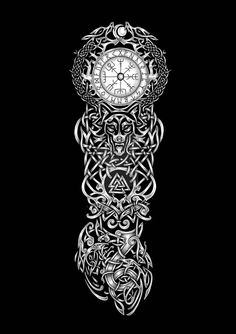 Viking Tribal Tattoos, Viking Tattoos For Men, Celtic Sleeve Tattoos, Celtic Wolf Tattoo, Viking Warrior Tattoos, Viking Tattoo Sleeve, Viking Tattoo Symbol, Pagan Tattoo, Wolf Tattoo Sleeve