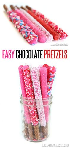 Easy Chocoalte Covered Pretzels. These are so cute and SO simple! Great Valentine Gift. #valentinesday