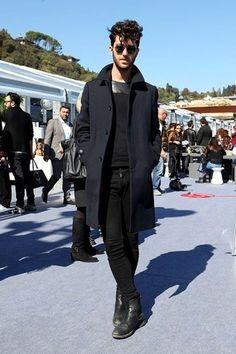 Men's Navy Overcoat, Black Leather Crew-neck Sweater, Black Skinny Jeans, Black Leather Chelsea Boots