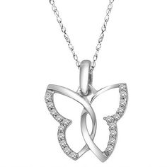 "10k White Gold Diamond Butterfly Pendant Necklace (1/10 cttw, H-I Color, I2-I3 Clarity), 18"" Amazon Curated Collection. $127.50. The total diamond carat weight listed is approximate. Variances may be up to .05 carats.. Made In India"