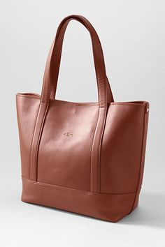 Cognac Landmark Geneva Tote by Lands' End. Rich patina #leather with beautiful polished gold metal hardware. Heat stamp personalization available in gold foil, silver foil or plain. #Handbag #CarryTheDay