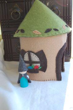 Felt Play Tree House for Imaginative Play with bonus Gnome. $42.00, via Etsy.