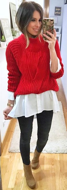 #winter #outfits red crew-neck sweater