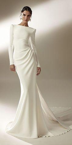 Satin Mermaid Wedding Dress, Wedding Dress Sleeves, Long Wedding Dresses, Elegant Wedding Dress, Mermaid Dresses, Bridal Dresses, Dresses With Sleeves, Gown Wedding, Long Satin Dress