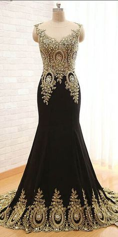 Custom Made V-Neck Elegant Mermaid Dress Black Floor Length Party Gown  Cheap Prom Dresses 2015 Prom Dress 700c54d01f3a
