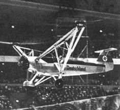 Focke Wulf Fw 61 flown by Hanna Reitsch indoors at the Deutschlandhalle sports stadium in Berlin, Germany, February 1938.