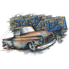 Vintage Rusty and Low Blue Pickup Car Adult Unisex T Shirt Brent Gill Design 57 Chevy Trucks, Classic Chevy Trucks, Hot Rod Trucks, New Trucks, Classic Cars, Chevy 4x4, Lifted Trucks, Farm Trucks, Lifted Chevy
