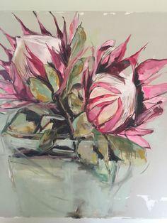 Aurene Wilford Acrylic Painting Flowers, Silk Painting, Acrylic Art, Acrylic Paintings, Australian Wildflowers, Australian Flowers, Mini Paintings, Floral Paintings, Protea Art