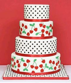 cherry and polka dot rockabilly wedding cake