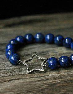 Diamond Star Lapis Lazuli Bracelet / Deep Indigo Blue