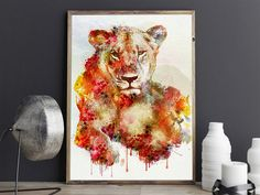 #RestingLioness #WatercolorAnimals #BigCats #Etsy #InstantDownload #Wildlife Lion Wall Art, Horse Wall Art, Lion Art, Watercolor Lion, Watercolor Paintings, Moose Decor, Wildlife Decor, Dog Paintings, Safari Animals