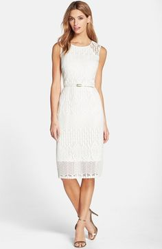 Ellen Tracy Belted Lace Sheath Dress available at #Nordstrom