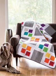 Gray Square Scramble by Corey Yoder of Little Miss Shabby feat RJR's Cotton Supreme Solids as seen in Fons & Porter's Easy Quilts Spring 2014