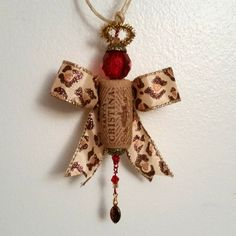 Leopard print Wine Cork Angel Handmade by OuLaLaWineGifts on Etsy Wine Cork Ornaments, Christmas Ornaments, Angel, Holiday Decor, Diy, Handmade, Crafts, Hand Made, Manualidades