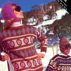 1960s Vintage Ski Knits in 12ply  original by allthepreciousthings,