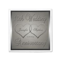 10th Tin Look Wedding Anniversary Monogram Disposable Napkin