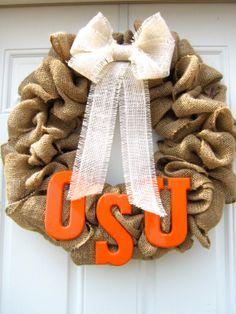 14in Oklahoma State University Burlap Wreath