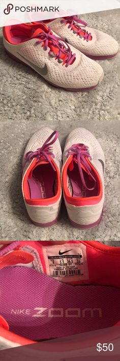 👟👟NIKE ZOOM ! Size 6 ! 👟 👟 Multicolor 👟👟NIKE ZOOM ! Size 6 ! 👟 👟 hardly worn ! Great condition ! Neon orange - purple & white with hints of silver ! Super pretty ! Cozy fit Nike Shoes Sneakers
