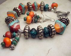 Lampwork Bracelet and Earrings Set Silver by StoneDesignsbySheila, $98.00