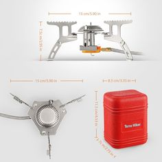 Terra Hiker 3500 W Camping Gas Stove, Backpack Stove, with Convenient Piezo Ignition, Durable, Portable Burner with Carrying Case Camping Stove, Camping Gear, Backpacking, Low Gravity, Gas Stove, Travel Light, Aluminium Alloy, Survival, Amazon