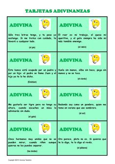 tarjetas-adivinanzas by laclasedeele VT via Slideshare Spanish Classroom Activities, Spanish Teaching Resources, Spanish Language Learning, Teaching Materials, Spanish Games, Spanish Lessons, Learn Spanish, Learning Apps, Learning Quotes